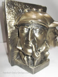 Sherlock Holmes Detective bookends, antique brass (pair)