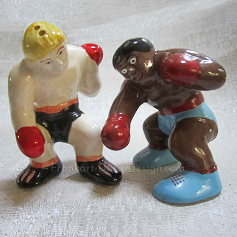 Boxing Match vintage ceramic salt and pepper shakers