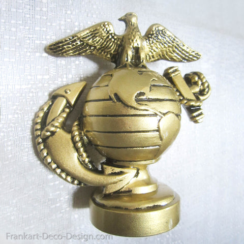 USMC Marine Corps insignia paperweight in antique brass