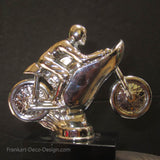"Classic Racing Motorcycle 5"" desk model paperweight in chrome and marble"