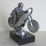 "Classic Racing Motorcycle 4"" polished aluminum and marble desk model"