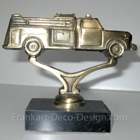 1950s Fire Engine hood ornament or statue in brass - Frankart Deco Design