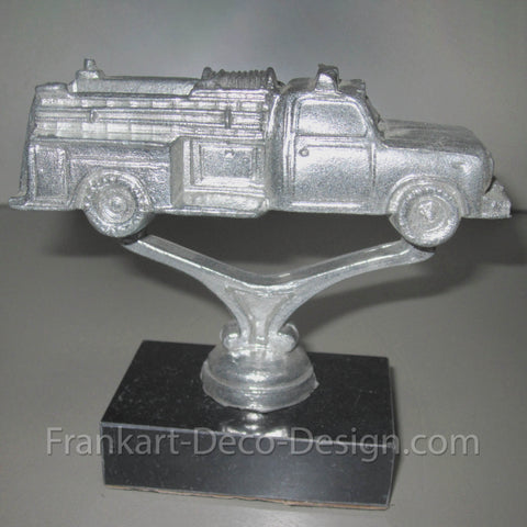 1950s fire engine metal hood ornament or statue - Frankart Deco Design