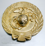 "USMC Marine Corps insignia 7"" solid brass plaque grave marker"