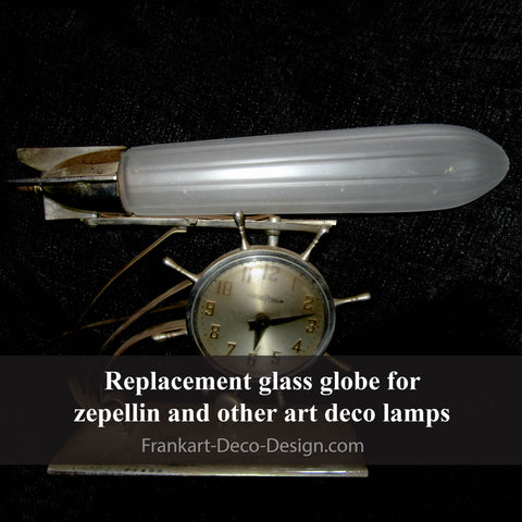 Frosted clear glass replacement shade for zeppelin and airplane art deco lamps