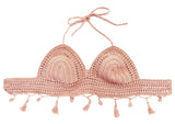 Creus bikini de crochet hecho a mano España artesanal calidad precio rebajas mar piscina fácil lavado swimwear traje baño summer handmade cotton algodón swimsuit quality made in Spain rosa light pink