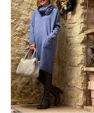 Knitted Dress with Front Pockets and Snood, Blue