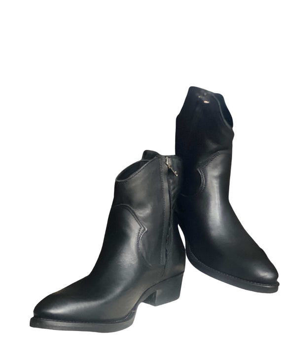 Western Leather Ankle Boots Zipped Made in Italy , Black