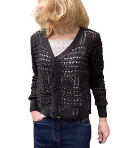 WOMEN'S CROCHET KNIT Cropped Cardigan, Black