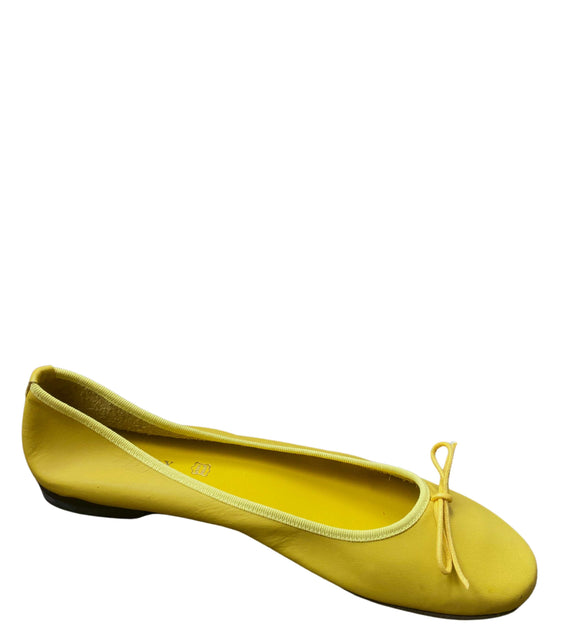 Made in Italy Leather Flat Slip Ons Pumps Ballerinas, Yellow