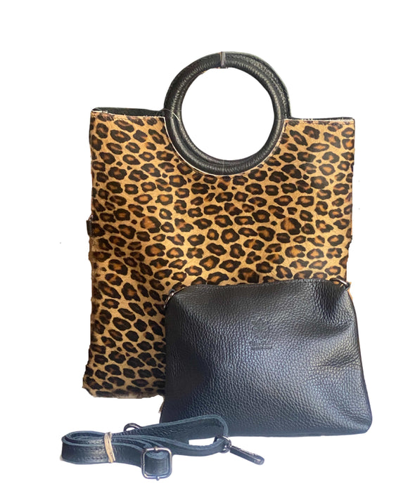 Women's Italian Leather Handbag  with Leather Pouch Shoulder Clutch Crossbody, Black Animal