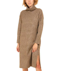 Turtleneck Knitted Dress with Side Splits, Brown