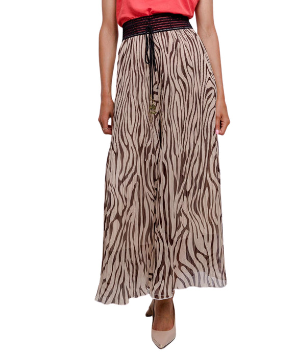 Palazzo Skirt Trousers Combo Black Brown Tiger Print