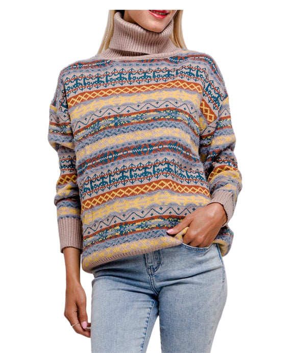 Wool Mix Jacquard Jumper Roll Neck, Taupe Yellow Blue Shades
