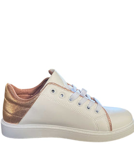 Faux Leather Rose Gold Lace Up Trainers, White