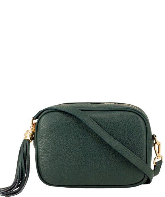 SANO Soho Style Soft Italian Leather Compact Shoulder / CrossBody Bag, Dark Green
