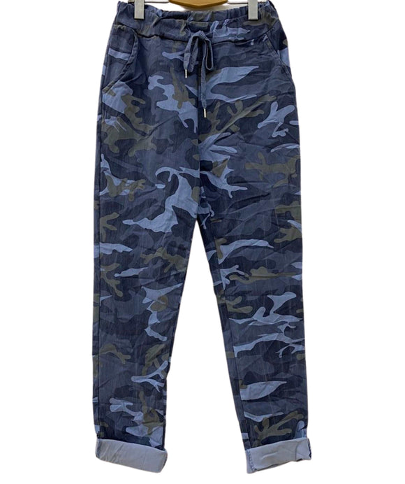Camouflage Trousers Elasticated Waist, Dark Blue