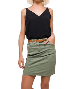 Women's Knee Length A-Line Chino Skirt Made in Italy, Khaki