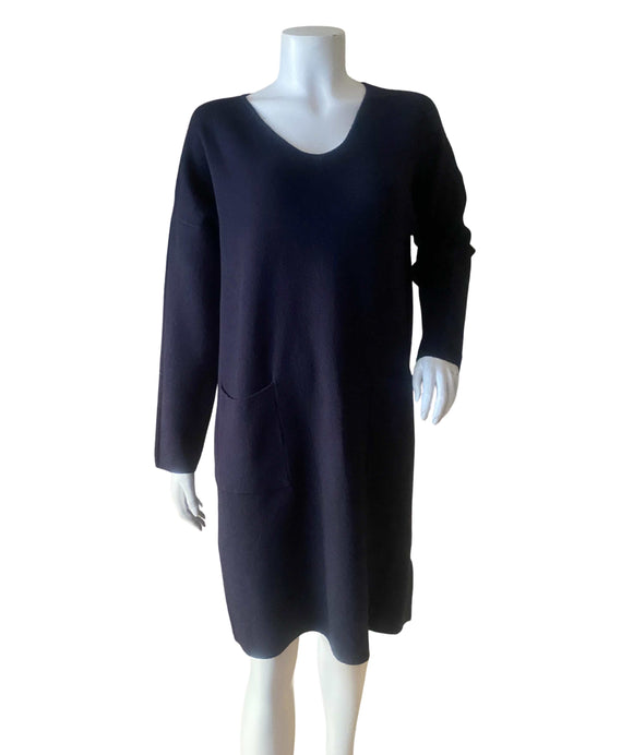 Knitted Dress with Front Pockets and Snood, Dark Blue