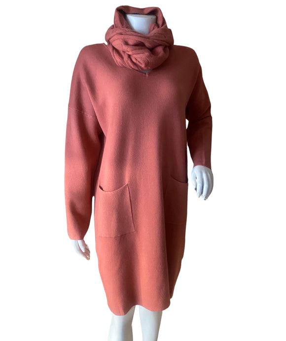 Knitted Dress with Front Pockets and Snood, Salmon Pink