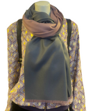 Reversible Cashmere Wool Mix Scarf Wrap, Grey/Pink