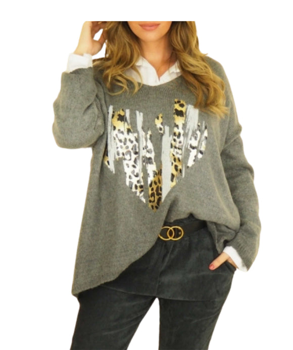 Oversized Mohair Jumper Animal Heart, Grey