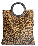 FINA Animal Print Leather Clutch Grab Shoulder Bag, Leopard
