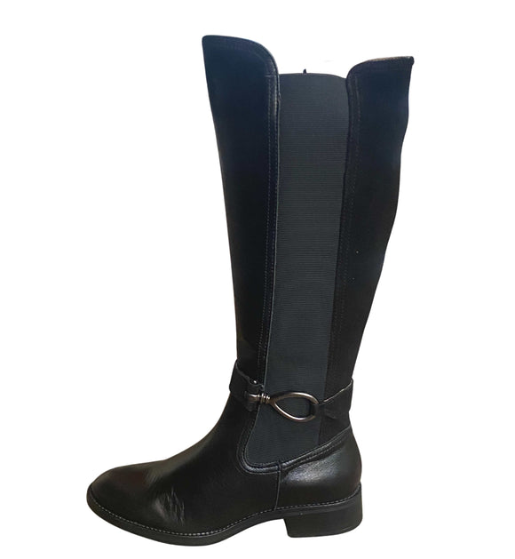 Leather knee High Boots Made in Spain, Black