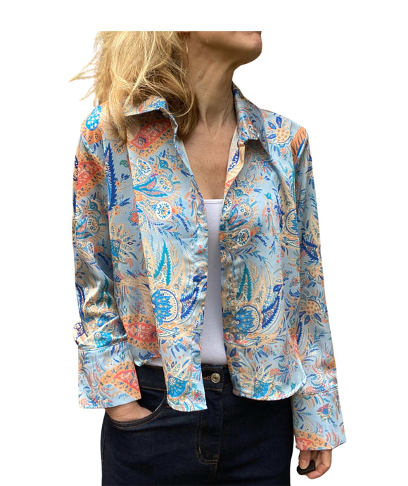 Women's Made in Italy Paisley Shirt Jacket, Blue