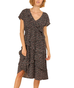 Women's Flowy Tiered Dress Short Sleeves, Black Floral Print