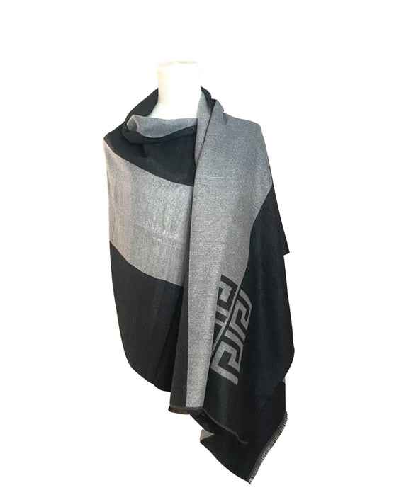 Reversible Scarf Wrap Shawl, Grey Black
