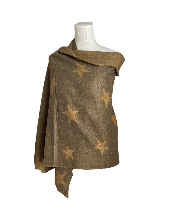 Reversible Star Scarf Wrap Shawl, Mustard