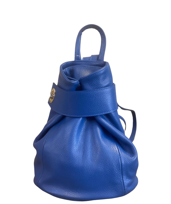 Ladies Backpack Italian Leather Royal Blue