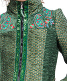 Coat Jacket Boho Style Straight Line, Green