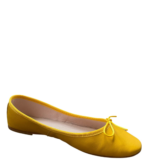 Made in Italy Leather Flat Slip Ons Pumps Ballerinas, Gold Yellow