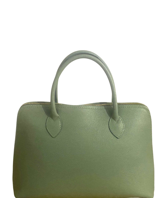 CALCI Soft Italian Leather Grab Handbag, Mint Green