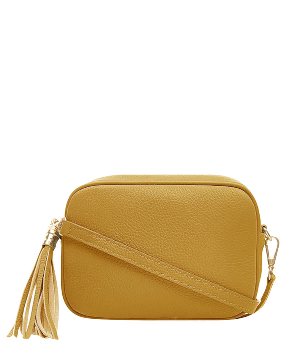 SANO SOHO Style Soft Italian Leather Compact Shoulder / CrossBody Bag, Mustard