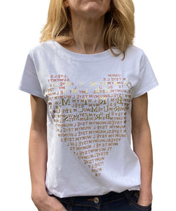 Women's T-Shirt Heart Letters, White Gold