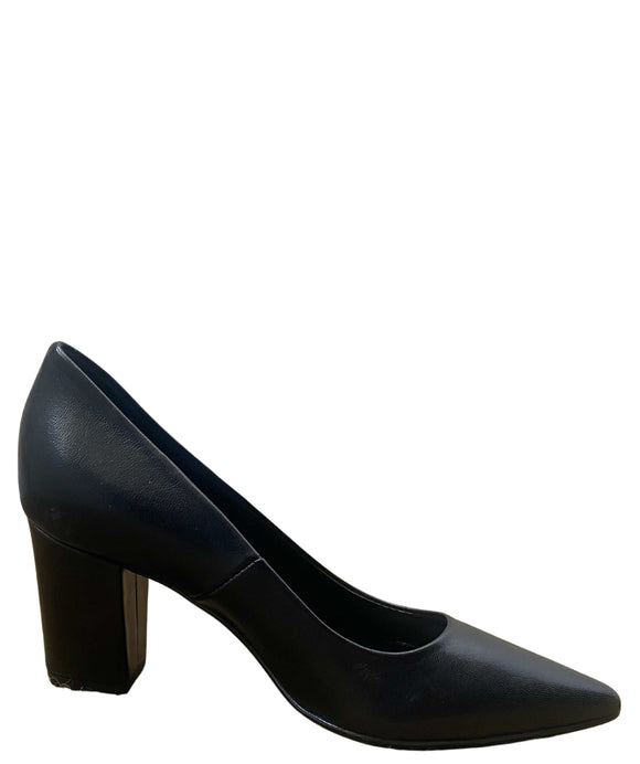 Leather Pointed Toe Block Heel Court Shoes Made in Italy, Black