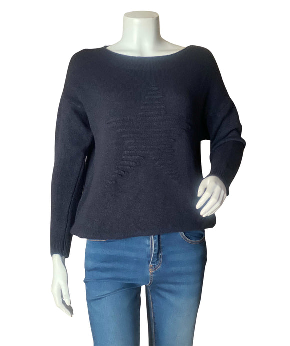 Knitted Wool Mix Star Jumper Made in Italy, Dark Blue