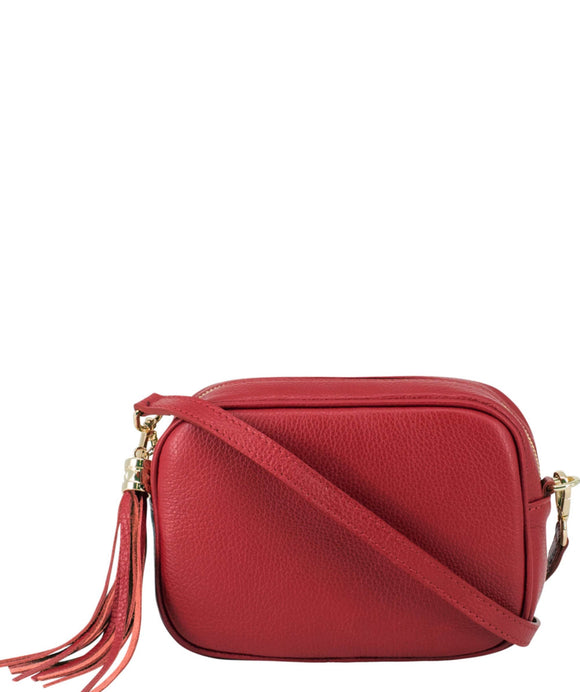 SANO Soho Style Soft Italian Leather Compact Shoulder / CrossBody Bag, Red