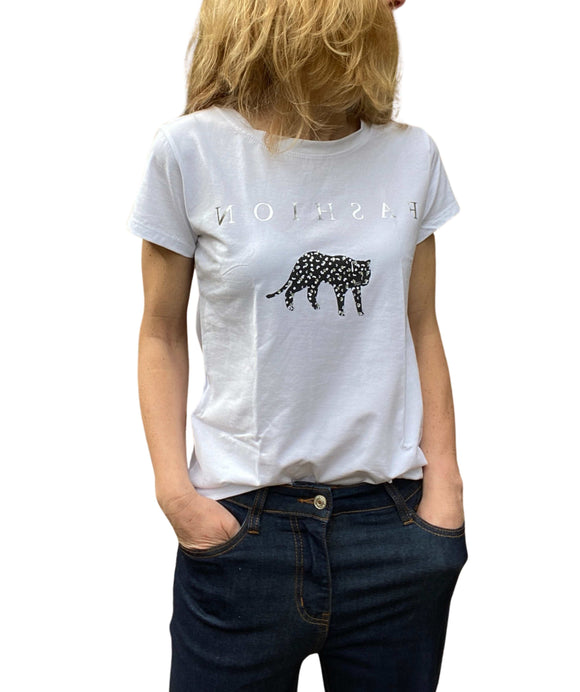 Ladies White T-Shirt Leopard Leopard Design and glitter