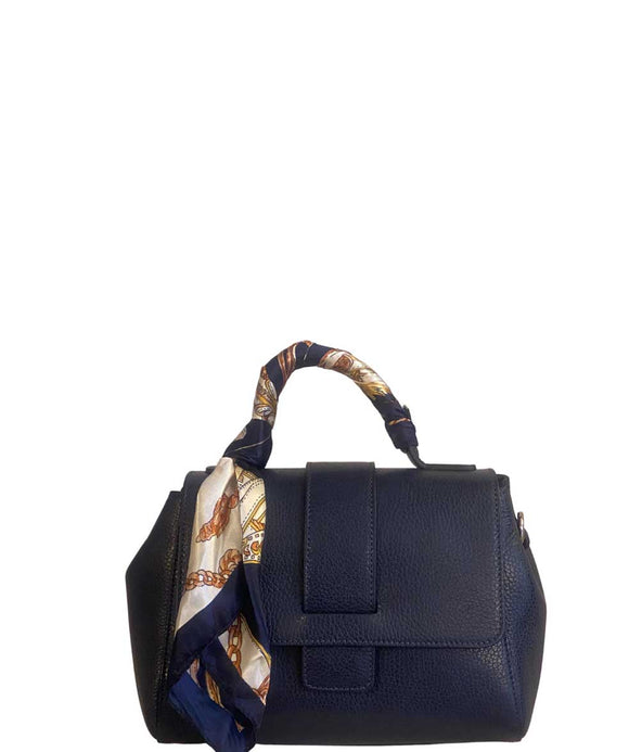ALBERESE Structured Small Italian Leather Grab Bag And Scarf, Dark Blue