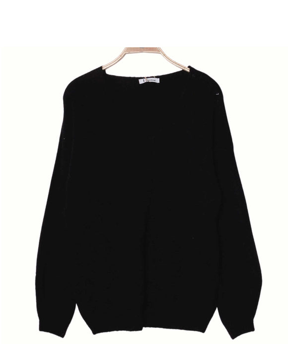 Alpaca Wool Sweater V Neckline Made in Italy, Black