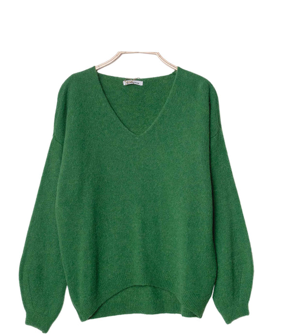 Alpaca Wool Sweater V Neckline Made in Italy, Green