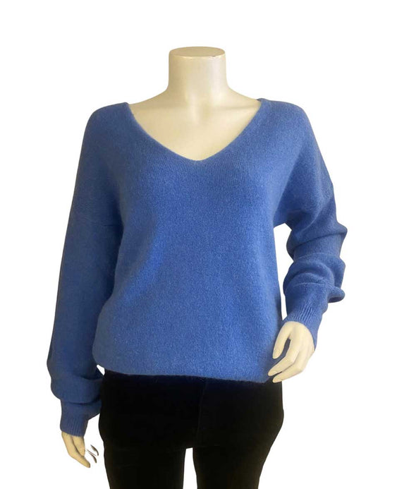 Alpaca Wool Sweater V Neckline Made in Italy, Blue