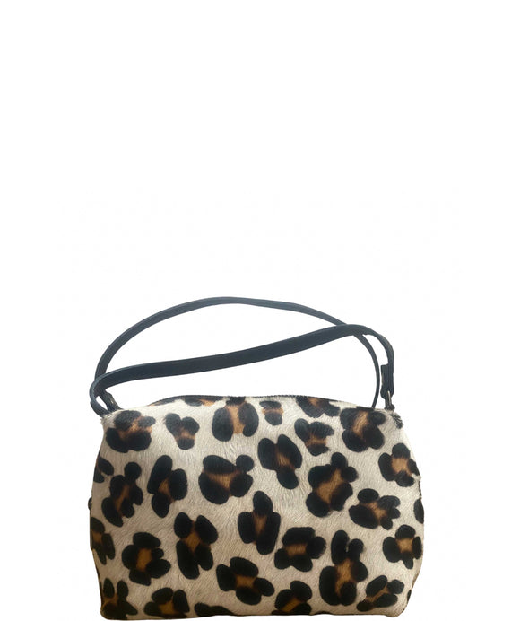 ALPINA Animal Pattern Grab Crossbody Leather Bag Made in Italy, Large Leopard