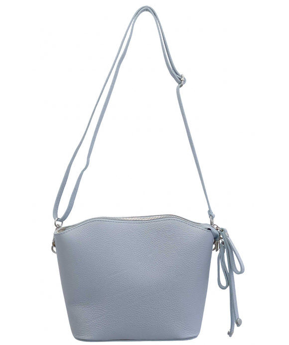 ANGELO Light Blue Structured Compact Crossbody Italian Leather Handbag