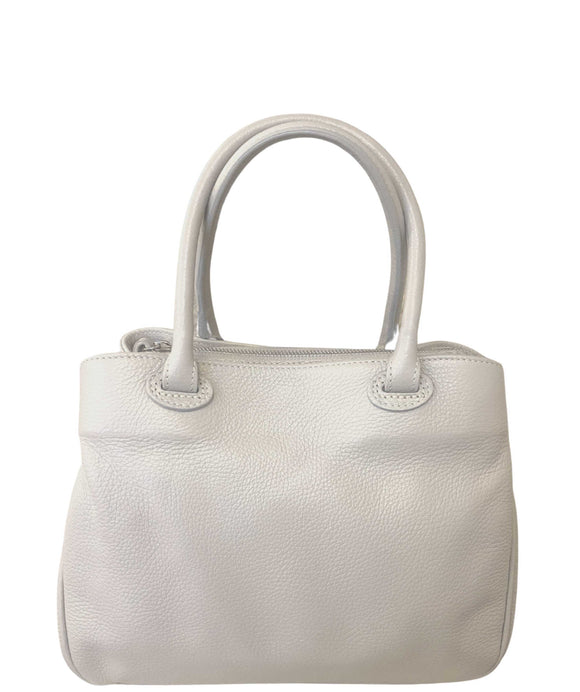 ANQUA Softly Structured Leather Grab Shoulder Handbag Made in Italy, Light Grey