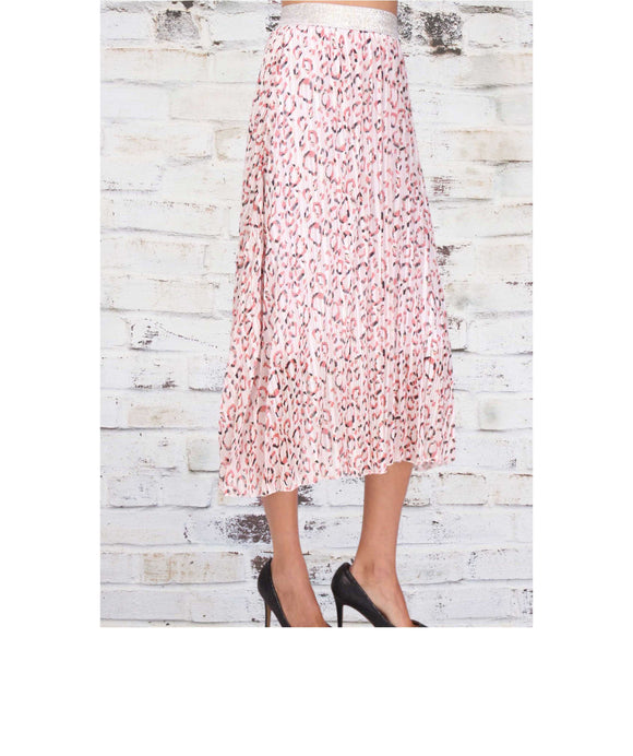 Animal Print Elasticated WAIST PLEATED SKIRT, Pink